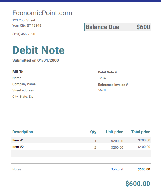 debit note example